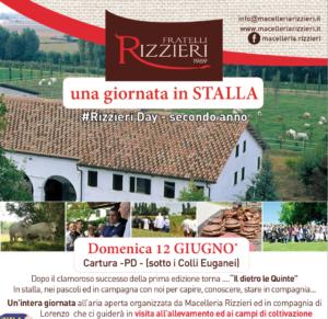 """locandina iniziativa """"una giornata in stalla"""" macelleria Rizzieri Day dedicata ai clienti"""